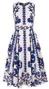 Avenue Dress #2 Crew Neck Sleeveless Midi +3 Length Linen (Kos Embroidery White)
