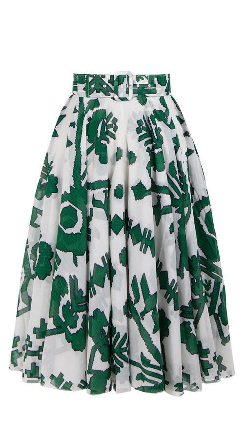 Aster Skirt #1 with Belt Midi Length Cotton Musola (Kos Embroidery White)