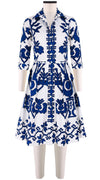 3/4 Sleeve | Kos Embroidery | White Cobalt Blue | Front | Shirt Dress By Samantha Sung