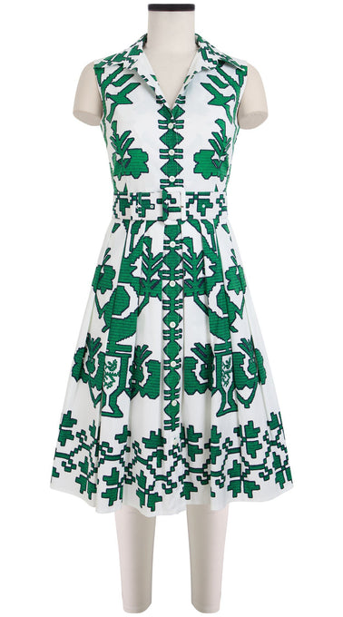 Audrey Dress #1_Kos Embroidery in White Pine Green_Cotton Stretch_Shirt Collar Sleeveless