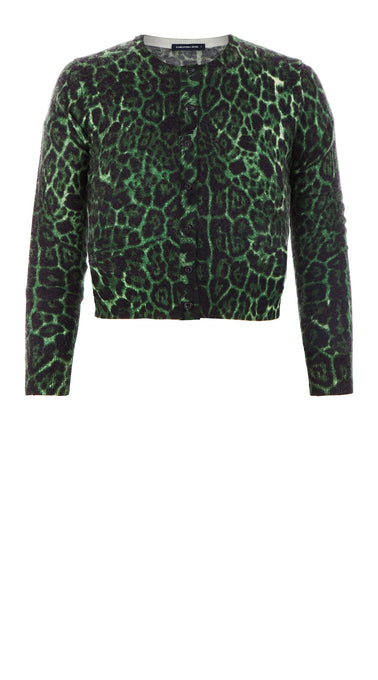 Colette Cardigan Short Crew Neck 3/4 Sleeve_100% Cashmere_Krugger Leopard_Hunter Green