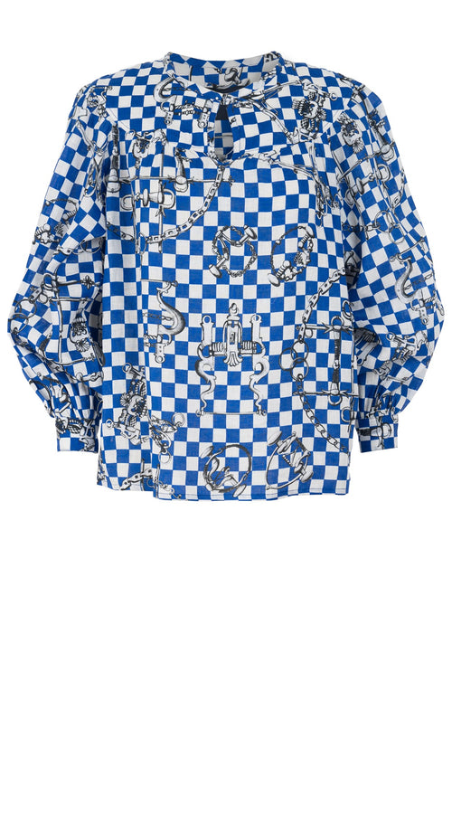 Barbara Blouse Crew Slit Neck Long Puff Sleeve Linen (LV Checkers)