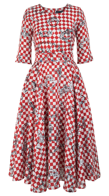 Avenue Dress #2 Crew Neck Elbow Sleeve Midi +3 Length Linen (LV Checkers)