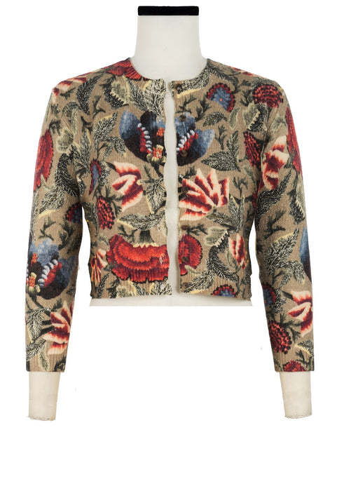 Colette Cardigan Short Crew Neck 3/4 Sleeve_100% Cashmere_Laos Embroidery_Beige