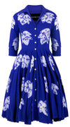 3/4 Sleeve | Leaf Shibori | Admiral Blue | Front-1 | Shirt Dress By Samantha Sung