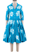3/4 Sleeve | Leaf Shibori | Aqua | Front-1 | Shirt Dress By Samantha Sung