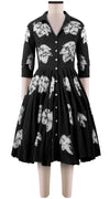 3/4 Sleeve | Leaf Shibori | Black | Front-1 | Shirt Dress By Samantha Sung