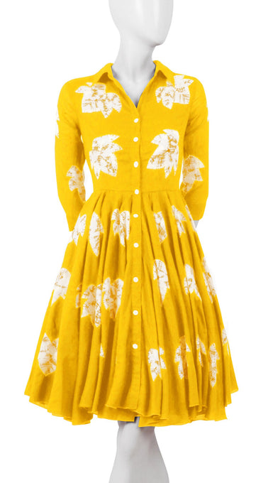 3/4 Sleeve | Leaf Shibori | Canary Yellow | Front-1 | Shirt Dress By Samantha Sung