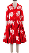 3/4 Sleeve | Leaf Shibori | Indian Red | Front-1 | Shirt Dress By Samantha Sung