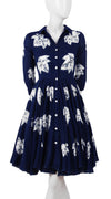 3/4 Sleeve | Leaf Shibori | Indigo | Front-1 | Shirt Dress By Samantha Sung