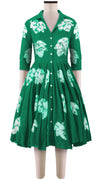 3/4 Sleeve | Leaf Shibori | Ivy Green | Front-1 | Shirt Dress By Samantha Sung