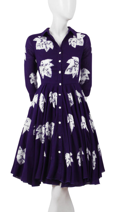 3/4 Sleeve | Leaf Shibori | Lilac | Front-1 | Shirt Dress By Samantha Sung