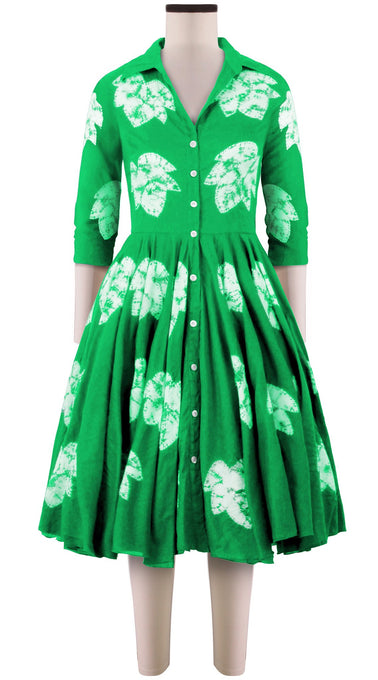 3/4 Sleeve | Leaf Shibori | Pine Green | Front-1 | Shirt Dress By Samantha Sung