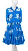 3/4 Sleeve | Leaf Shibori | Sea Blue | Front-1 | Shirt Dress By Samantha Sung