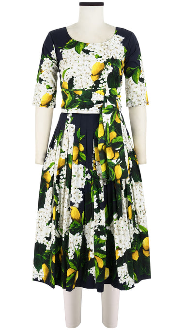 Florance Dress #2 Crew Neck 1/2 Sleeve Long +3 Length Cotton Stretch (Lemon Tree Blossom)