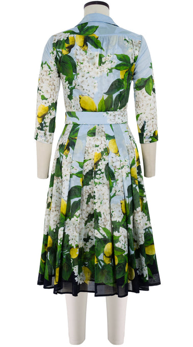 Audrey Dress #4 Shirt Collar 3/4 Sleeve Long Length Cotton Musola (Lemon Tree Blossom)