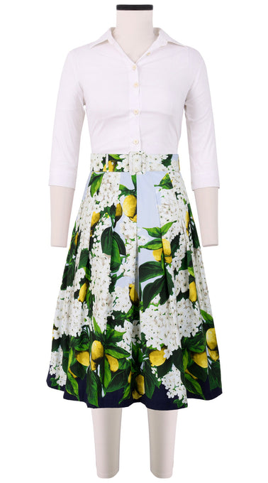 Audrey Skirt #3 with Belt Long Length Cotton Stretch (Lemon Tree Blossom)