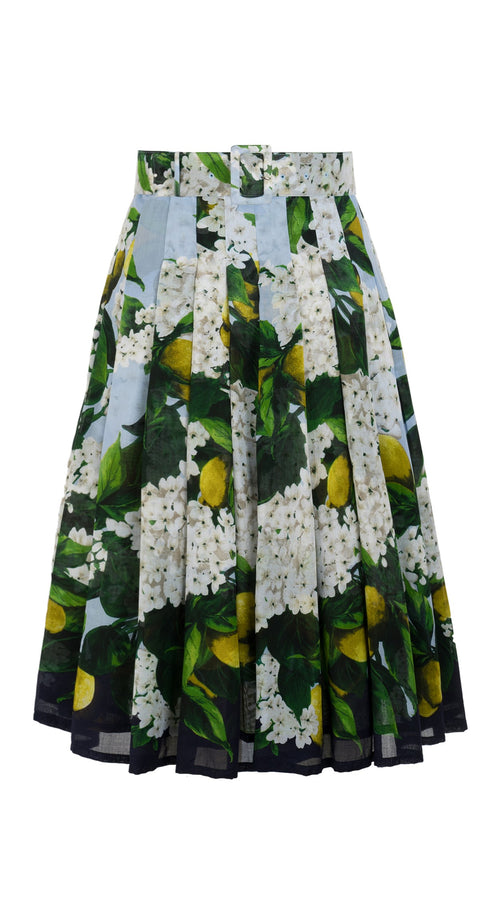 Audrey Skirt #4 with Belt Long Length Cotton Musola (Lemon Tree Blossom)