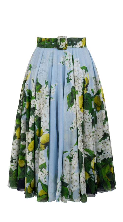 Aster Skirt #1 with Belt Midi Length Cotton Musola (Lemon Tree Blossom)