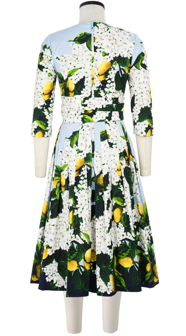 Florance Dress #2 Boat Neck 3/4 Sleeve Long Length Cotton Stretch (Lemon Tree Blossom)