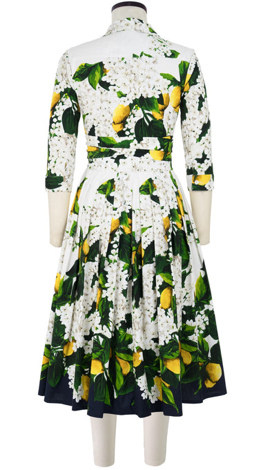 Audrey Dress #2 Shirt Collar 3/4 Sleeve Long +3 Length Cotton Stretch (Lemon Tree Blossom)