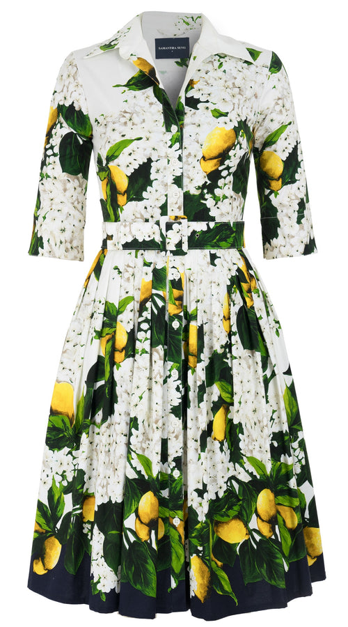 Audrey Dress #2 Shirt Collar Elbow Sleeve Cotton Stretch (Lemon Tree Blossom)