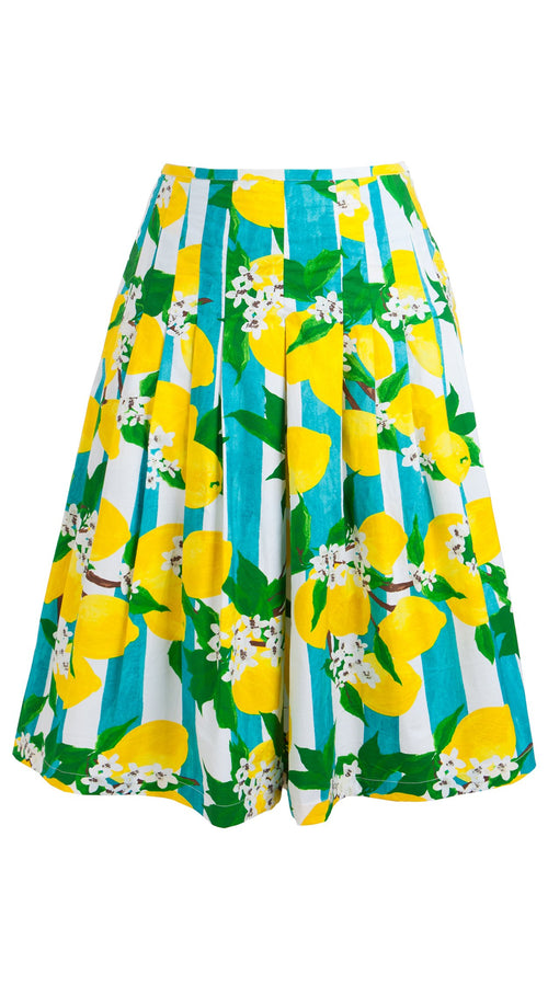 Zelda Skirt Cotton Stretch (Lemon Stripe)