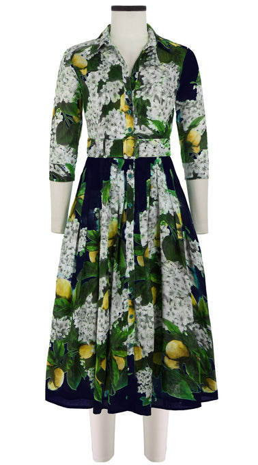 Audrey Dress #2 Shirt Collar 3/4 Sleeve Midi Length Cotton Musola (Lemon Tree Blossom)