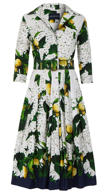Audrey Dress #4 Shirt Collar 3/4 Sleeve Midi Length Cotton Stretch (Lemon Tree Blossom)