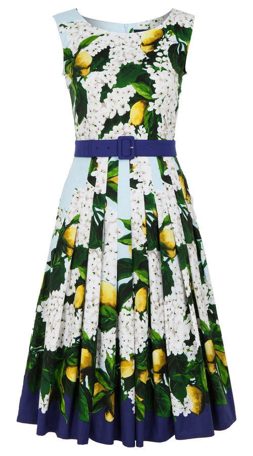 Zeller Dress Boat Neck Mini Cap Sleeve Long Length Cotton Stretch (Lemon Tree Blossom)