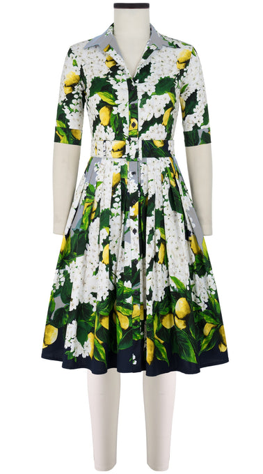 Audrey Dress #2 Shirt Collar 1/2 Sleeve Cotton Stretch (Lemon Tree Blossom)