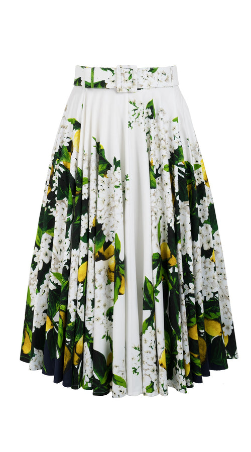 April Skirt Midi Length Cotton Stretch (Lemon Tree Blossom)