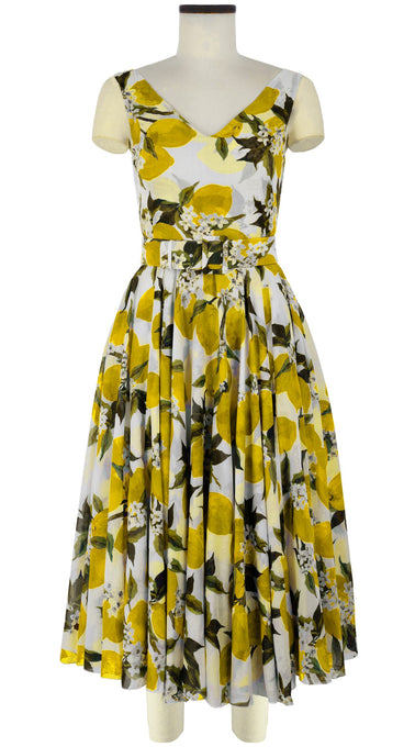 Aster Dress V Neck Sleeveless Midi Length Cotton Musola (Lemon)