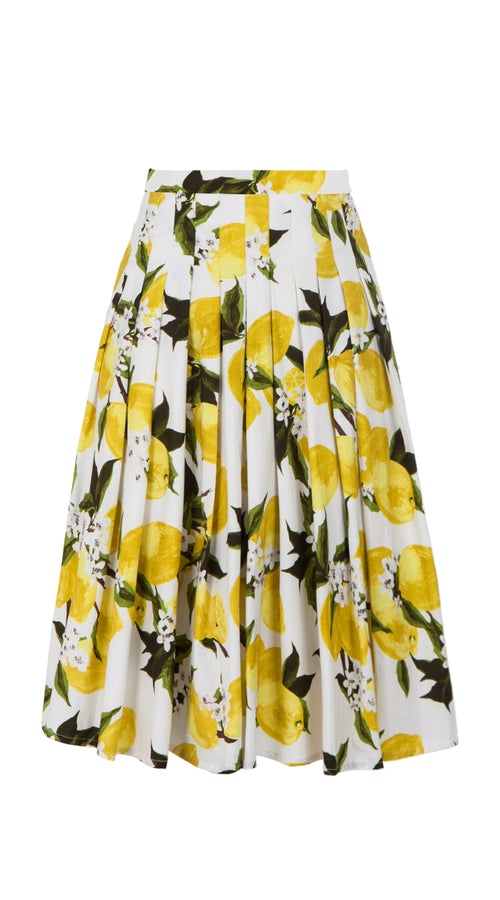 Zeller Skirt Long Length Cotton Stretch (Lemon)