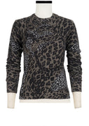 Carolina Pullover Long Crew Neck Long Sleeve_100% Cashmere_Leopard Combo_Taupe