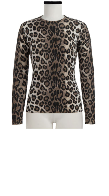 Carolina Pullover Crew Neck Long Sleeve Cashmere (Leopard)