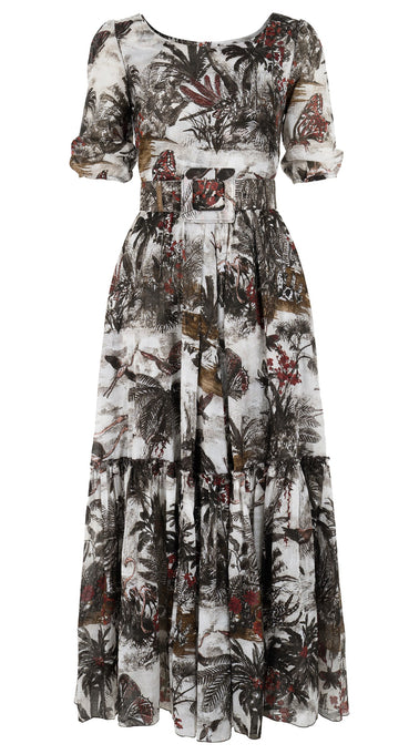Anna Dress Boat Neck 1/2 Puff Sleeve Ankle Length Cotton Musola (Lewa Wildlife)