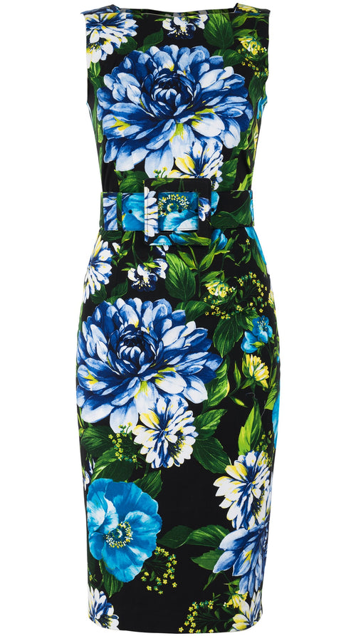 Celine Dress High Boat Neck Sleeveless Long Length Cotton Dobby Stretch (Los Cabos Flower)