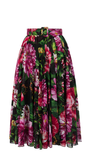 Aster Skirt #1 with Belt Midi Length Cotton Musola (Los Cabos Flower)