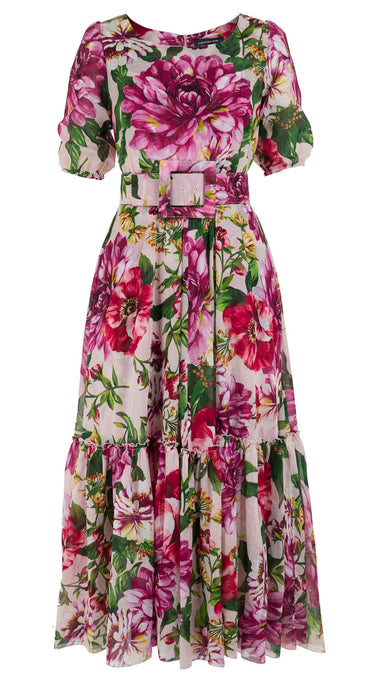 Anna Dress Boat Neck 1/2 Puff Sleeve Ankle Length Cotton Musola (Los Cabos Flower)