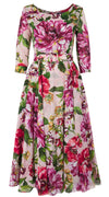 Avenue Dress #2 Boat Neck 3/4 Sleeve Midi +7 Length Cotton Musola (Los Cabos Flower)