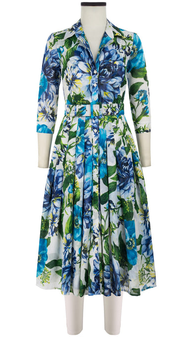 Audrey Dress #4 Shirt Collar 3/4 Sleeve Midi Length Cotton Musola (Los Cabos Flower)