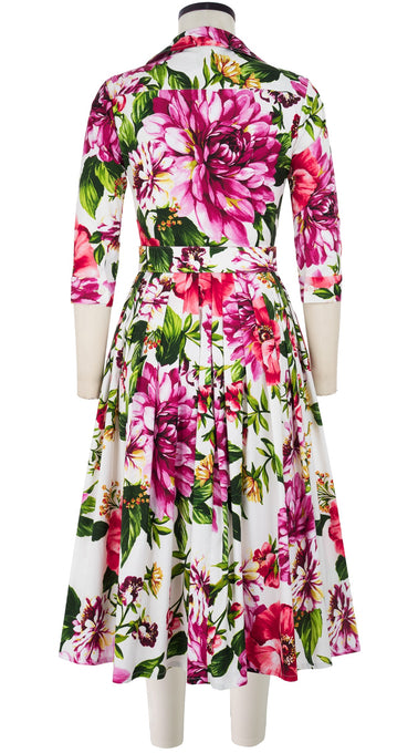 Audrey Dress #2 Shirt Collar 3/4 Sleeve Midi Length Cotton Stretch (Los Cabos Flower)