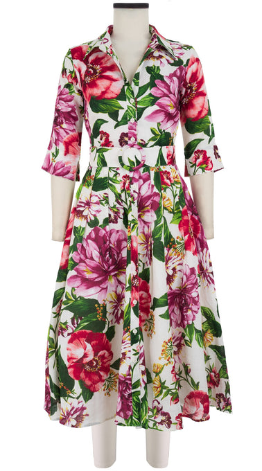 Audrey Dress #2 Shirt Collar Elbow Sleeve Midi Length Linen (Los Cabos Flower)