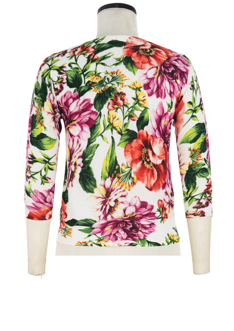 Charlotte Cardigan V Neck 3/4 Sleeve_70% Silk 30% Cashmere_Los Cabos Flower_White Pink