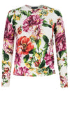 Charlotte Pullover Crew Neck Long Sleeve_70% Silk 30% Cashmere_Los Cabos Flower_White Pink