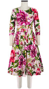 Florance Dress Crew Neck 3/4 Sleeve Long Length Cotton Stretch (Los Cabos Flower)
