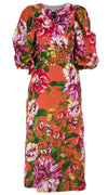 Anastasia Dress Crew Slit Neck 3/4 Sleeve Ankle Length Linen (Los Cabos Flower)