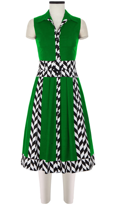 Audrey Dress #1 Shirt Collar Sleeveless Long Length Cotton Stretch (Lucini Zigzag)