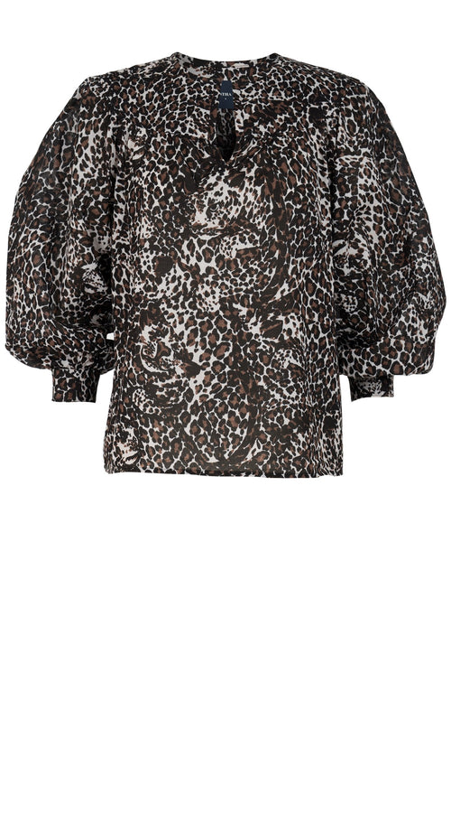 Barbara Blouse Crew Slit Neck 3/4 Sleeve Musola (Lynx Leopard Dark)